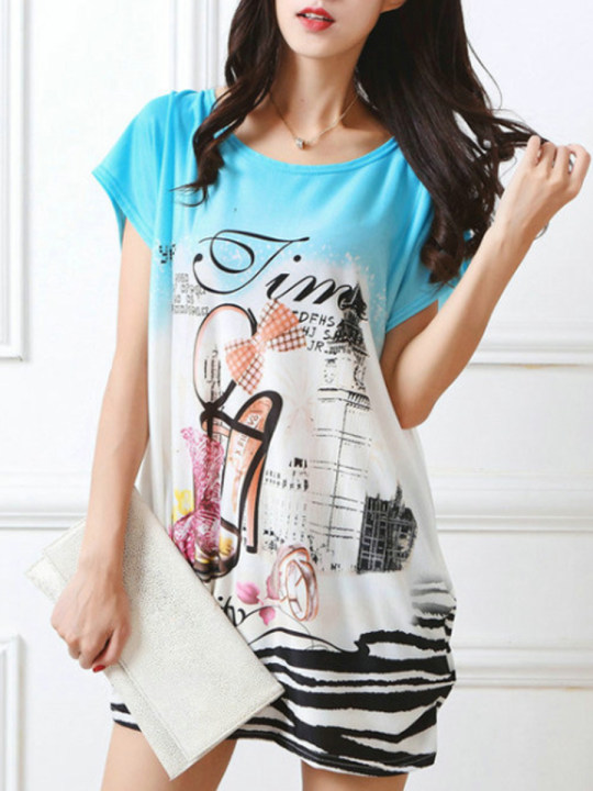 Casual Round Neck Printed Mini Shift Dress