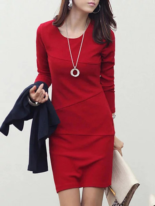 Women Round Neck Plain Bodycon Dress