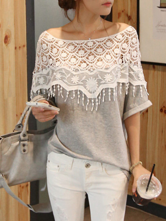 Round Neck Cutout Floral Long Sleeve T-Shirts