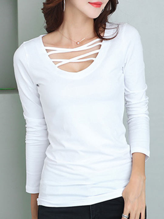 Surplice Plain Long Sleeve T-Shirts