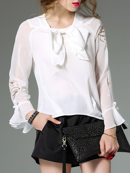 bb5fadd7f86 3 4 Sleeve Casual Embroidered Ruffled Cotton Blouse